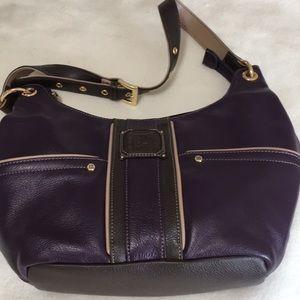 Deep purple leather Stone Mountain hobo bag EUC